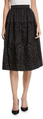 Monique Lhuillier Eyelet Taffeta Midi-Length Skirt