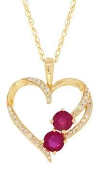 Lord & Taylor Diamonds, Ruby and 14K Yellow Gold Heart-Shaped Pendant Necklace