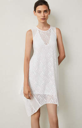 BCBGMAXAZRIA Asymmetrical Geometric Lace Dress