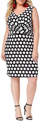 INC International Concepts Plus Printed Faux-Wrap Sheath Dress