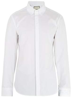 Gucci - Text Embroidered Single Cuff Cotton Poplin Shirt - Mens - White