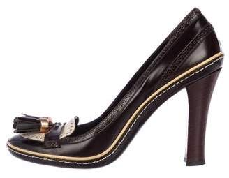 Celine Brogue Leather Pumps