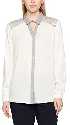 Kaffe Women's 10501021 Regular Fit Button Down Long Sleeve Blouse - White - 12