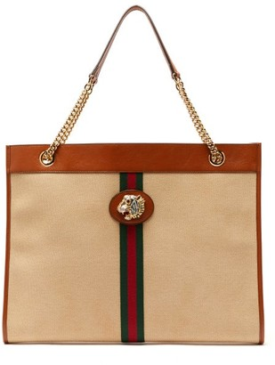 d20bbbe7bf63 Gucci Rajah Web Striped Canvas Tote Bag - Womens - Beige Multi
