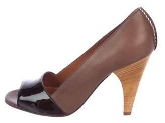 Lanvin Leather Peep-Toe Pumps