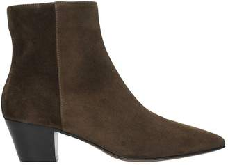 L'Autre Chose Dark Brown Red Suede Leather Ankle Boots