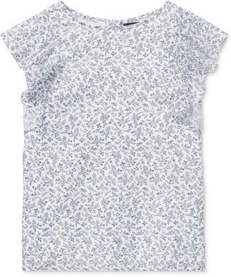 Polo Ralph Lauren Big Girls Floral-Print Flutter-Sleeve Cotton Top