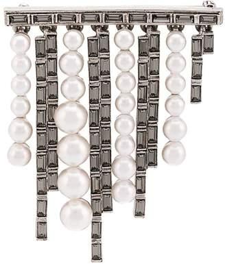 Oscar de la Renta Pearl and baguette brooch