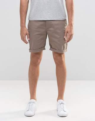 Asos DESIGN Slim Chino Shorts in Brown