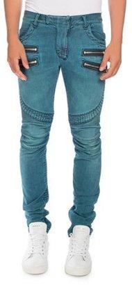 Balmain Skinny Denim Biker Jeans, Turquoise $1,575 thestylecure.com