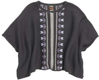 Tea Collection Floral Stripe Knit Poncho