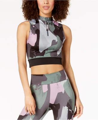 Puma Chase Printed Cropped Half-Zip Tank Top