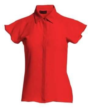 Emporio Armani Silk Crepe Cap-Sleeve Top