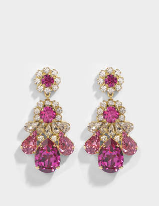 Shourouk DS Fushia Earrings in Pink Brass and Swarovski Crystals
