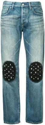 Tu Es Mon Trésor tulle knee patch boyfriend jeans short length