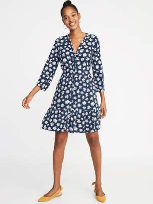 Old Navy Daisy-Print Waist-Defined Shirt Dress for Women