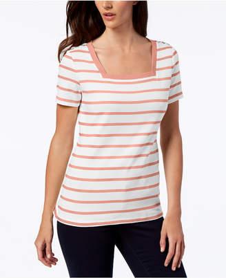 Karen Scott Petite Cotton Striped Square-Neck Top, Created for Macy's
