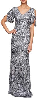 Alex Evenings Floral Sequined A-Line Gown