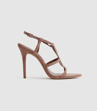 Reiss Pina - Knot Detail Sandals in Rose