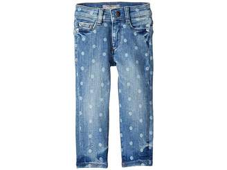 DL1961 Kids Chloe Mid Wash Skinny with Laser Print Polka Dots Adjustable Waist Band and Snap Button in Ashton (Toddler/Little Kids)