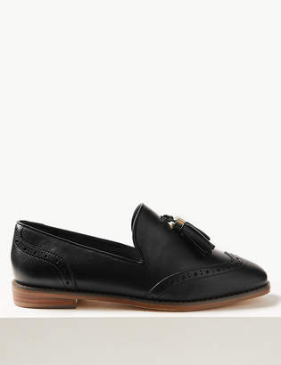 e06a8df25d9a2 M S CollectionMarks and Spencer Wide Fit Leather Brogue Tassel Loafers