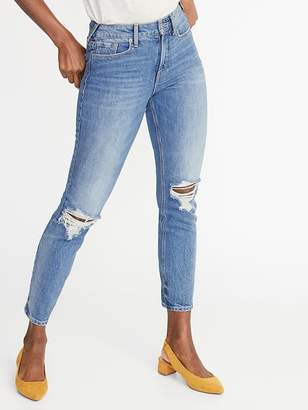 Old Navy High-Rise Secret-Slim Pockets Distressed Power Straight Ankle Jeans for Women