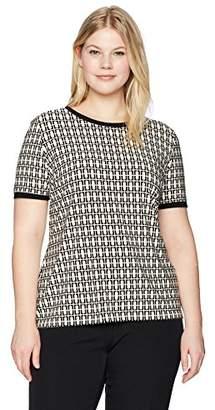 Anne Klein Women's Size Plus Printed Button Back Tee