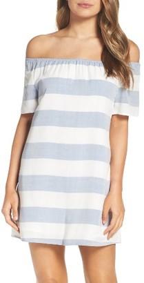 Women's Bb Dakota Stripe Off The Shoulder Shift Dress $95 thestylecure.com