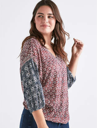 Lucky Brand TEXTURED PEASANT BLOUSE