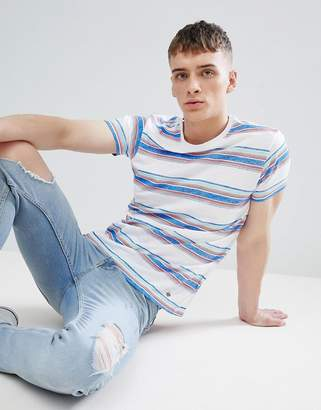 Solid T-Shirt in Multi Stripe Slub