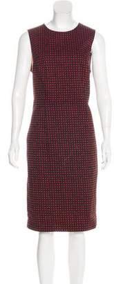 Diane von Furstenberg Polka-Dot Accent Scoop Neck Dress