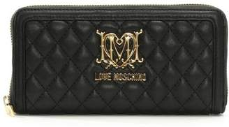 Love Moschino Large Quilted Black Zip Around Wallet