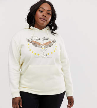 Daisy Street Plus hoodie with eagle graphics