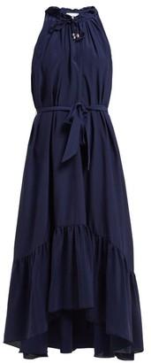 Heidi Klein Frill Silk Midi Dress - Womens - Navy