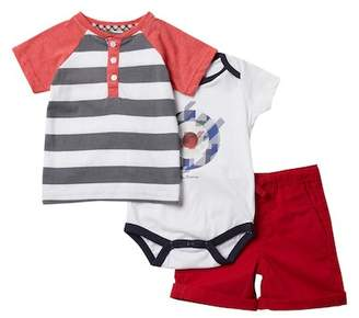 Ben Sherman 3-Piece Shirt, Bodysuit & Short Set (Baby Boys)