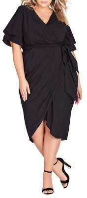 City Chic Plus Layered Ruffle Sleeve Belted Dress
