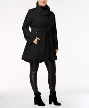 Madden-Girl Juniors' Plus Size Stand-Collar Walker Coat