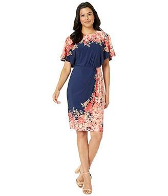 Maggy London Print Jersey Batwing Wrap Sheath Dress