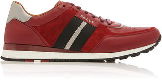Bally Aston Suede-Paneled Leather Sneakers