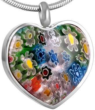 Glass Heart constantlife Charmed Millefiori Cremation Urn Pendant Ashes Urn Keepsake Memorial Necklace