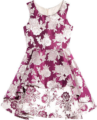 Bonnie Jean Big Girls Double-Tier Floral Brocade Dress