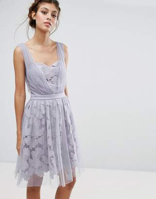 Little Mistress Lace And Tulle Overlay Dress With Gathered Straps