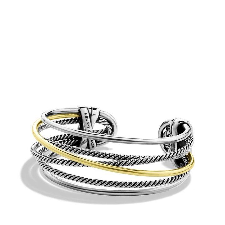 David Yurman Crossover Narrow Cuff with Gold