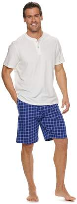 Croft & Barrow Men's Henley & Plaid Sleep Shorts Set
