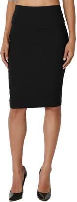 TheMogan Women's Slim! Basic High Waisted Stretch Pencil Knee Skirt