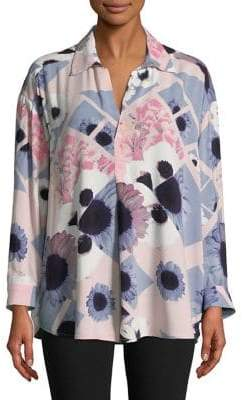 Lord & Taylor Plus Floral Block Blouse