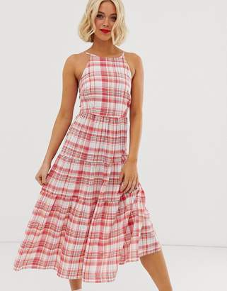 New Look tiered dress in check print
