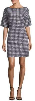 St. John Soft Plaid Tweed Half-Sleeve Dress