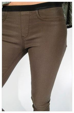 Helmut Lang High Gloss Elastic Legging in Ammo
