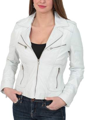 bdb6d1c07f5f House of Leather Womens Real Lambskin Leather Biker Style Fitted Casual  Jacket Kim